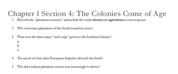 Chapter 1 Section 4: The Colonies Come of Age