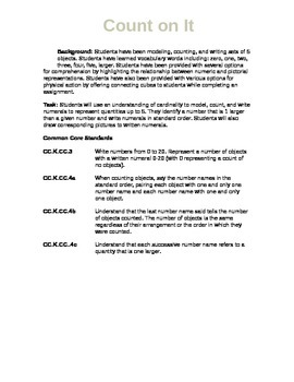 Go Math Kindergarten Chapter 1 Task and Common Core Standards