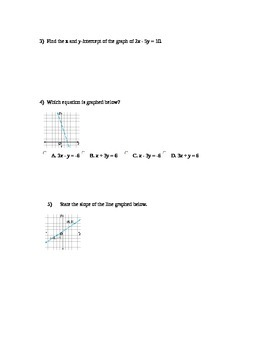 Chapter 1 Test - Algebra 2 - Linear Functions, Equations, Inequalities,etc