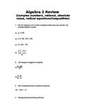 Algebra 2 Review (complex numbers,radical, rational ab. val equations/ineq, etc
