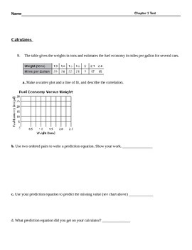 Chapter 1 Test - Linear Functions, Equations and Modeling