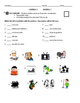 Chapter 1 Vocab Quiz - Me gusta and Yo soy