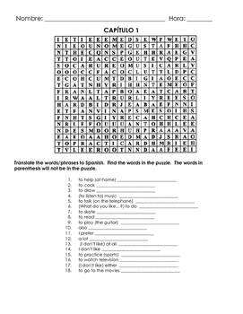 Chapter 1 Vocabulary Wordsearch (Paso a Paso / Realidades)