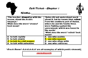 """Chapter 10 Exit Ticket; """"A Long Walk to Water""""; Printables"""