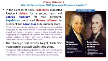 "McGraw Hill US History Chapter 10 Powerpoint ""The Jefferson Era"""