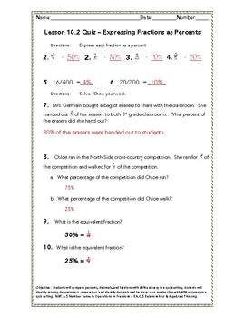 Chapter 10 Quiz Bundle - Percent