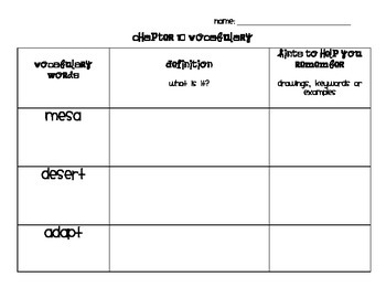 Chapter 10 Vocabulary Chart Social Studies Alive! Grade 4