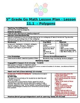 Chapter 11 Lesson 1 Grade 5 Go Math Lesson Plan