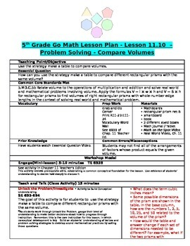 Chapter 11 Lesson 10 Grade 5 Go Math Lesson Plan