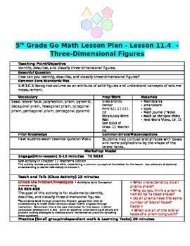 Chapter 11 Lesson 4 Grade 5 Go Math Lesson Plan