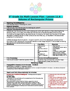 Chapter 11 Lesson 8 Grade 5 Go Math Lesson Plan