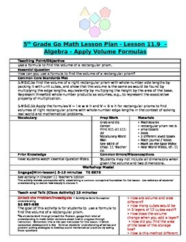Chapter 11 Lesson 9 Grade 5 Go Math Lesson Plan