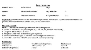 Chapter 12-American Government and Civics-The US Legal System Lesson Plans