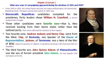 """McGraw Hill US History Chapter 12 Powerpoint """"The Jackson Era"""""""