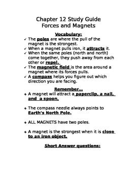 Forces and Magnets Study Guide