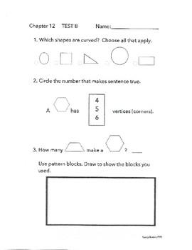 GO MATH 1st Grade Chapter 12 Test B