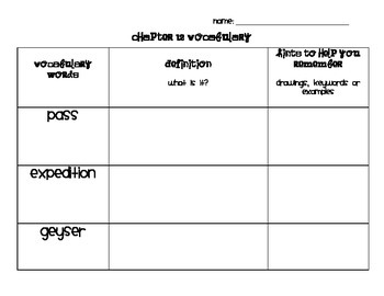Chapter 12 Vocabulary Chart Social Studies Alive! Grade 4