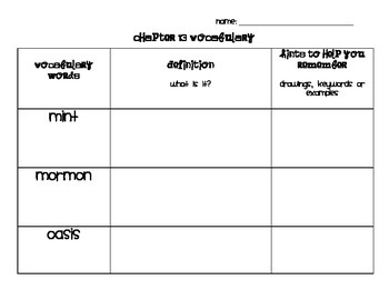 Chapter 13 Vocabulary Chart Social Studies Alive! Grade 4