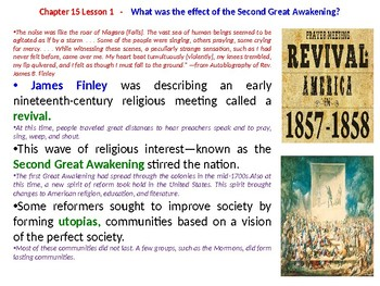 """McGraw Hill US History Chapter 15 Powerpoint """"The Spirit of Reform"""""""