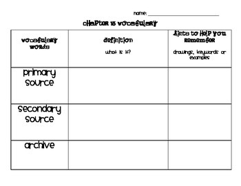 Chapter 15 Vocabulary Chart Social Studies Alive! Grade 4