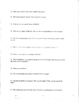 Chapter #16 Creating America - Early Civil War - Study Guide, Test, Answer Key