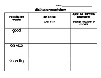 Chapter 16 Vocabulary Chart Social Studies Alive! Grade 4