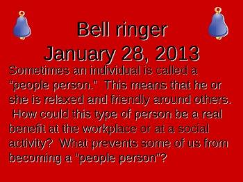 Chapter 2 Bell ringers for Speech