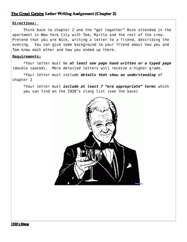 Chapter 2 Letter Writing Activity for Great Gatsby