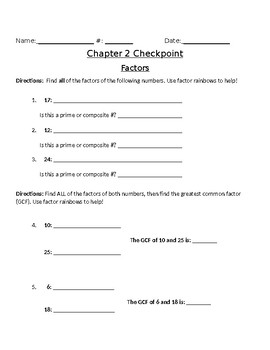 Chapter 2 Math in Focus test, practice, or checkpoint: factors and multiples