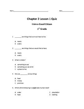 Chapter 2 Pearson My World Texas Ed. Grade 1 Quizzes