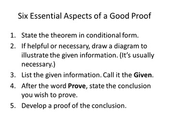 Common Core Geoemtry. Chapter 2. Proof