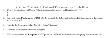Chapter 2 Section 1: Colonial Resistance and Rebellion