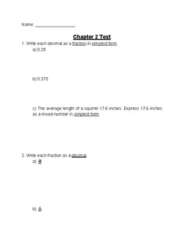 Chapter 2 Test