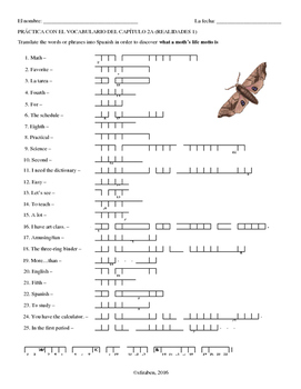 Chapter 2A Vocab Double Puzzle (Realidades 1)