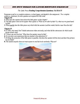 The Little Prince Ch 3-4 Questions
