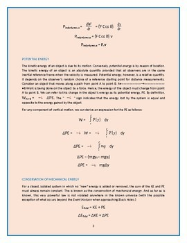 """Physics Lectures - Chapter 3. """"Energy, Work & Power"""""""