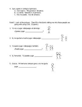 Chapter 3 Examen (ir, ir + a + infinitives, estar, invitations, con)