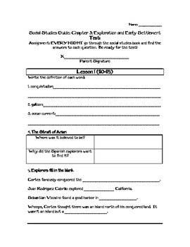 Chapter 3 Exploration and Early Settlement Study Guide