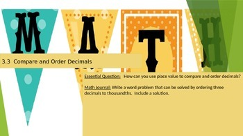 Chapter 3 Go Math Essential Questions and Journal Writing Prompts