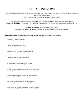 Chapter 3 Grammar Packet (ir, ir + a + infinitive, estar, con, seasons & places)