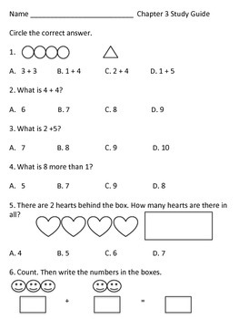 Chapter 3 Math in Focus (first grade) Study Guide