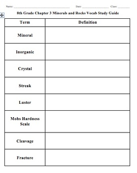 Chapter 3 - Minerals and Rocks Vocabulary Study Guide