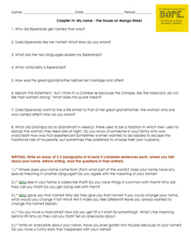 Chapter 4 Questions and Project Mi nombre / Mi Name – La Casa en Mango Street
