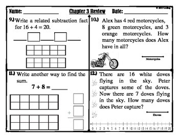 """Chapter 3  Review """"Go Math"""" 2nd Grade"""