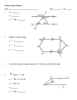 Chapter 3 Review: Honors Geometry