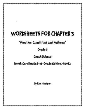 Chapter 3 Worksheets - 5th Grade Coach Science book - North Carolina Edition