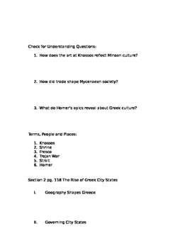 Prentice Hall World History Chapter 4 Ancient Greece