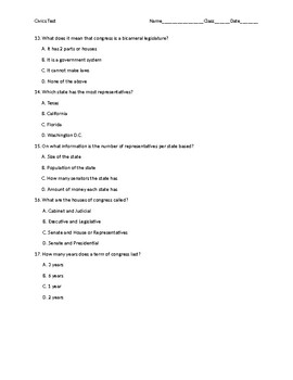 Chapter 4 Civics Test