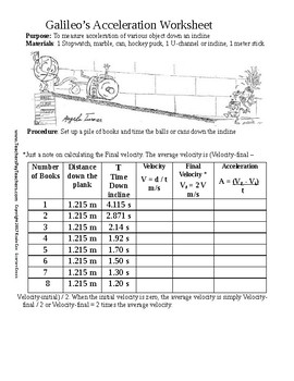 Galileo's Acceleration Inclined Plane Worksheet