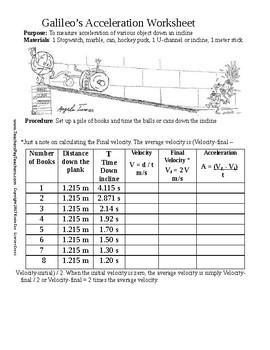 Galileo's Acceleration Inclined Plane Worksheet
